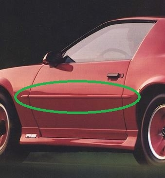 1987 - 1992 Camaro Body Side Molding Set with Pointed Ends
