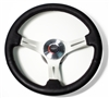 1967 - 1989 Steering Wheel, Black Leather, Custom, Brushed Spokes Kit