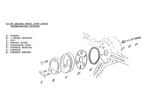 1967 - 1968 camaro horn cap mounting set, standard ... horn button wiring diagram horn button diagram #7