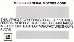 1975 Camaro Door Jam Vin Number Certification Decal
